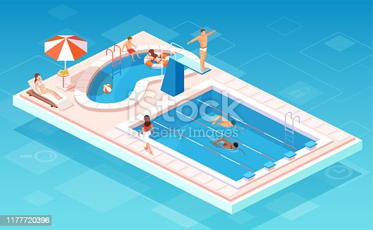 istock Isometric vector of a swimming pool with swimmers competing, people relaxing by the smaller pool 1177720396