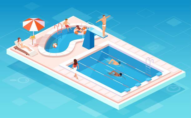 illustrations, cliparts, dessins animés et icônes de vecteur isométrique d'une piscine avec des nageurs en compétition, les gens se détendre par la plus petite piscine - piscine