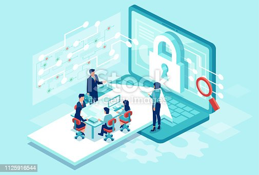 istock Isometric vector of a team working designing new software to protect personal data 1125916544