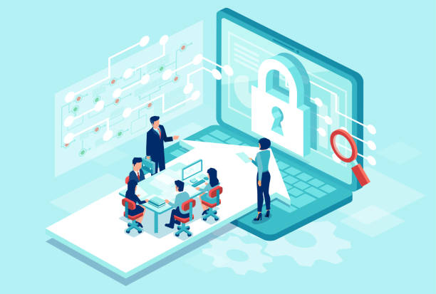 Isometric vector of a team working designing new software to protect personal data Cyber security concept. Isometric vector of a team working designing new software to protect personal data cybersecurity stock illustrations