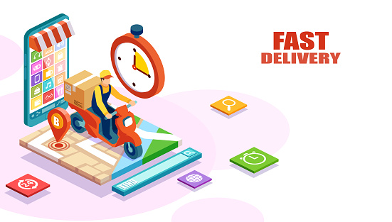 Isometric vector of fast and free delivery by man riding a scooter of an order made online.