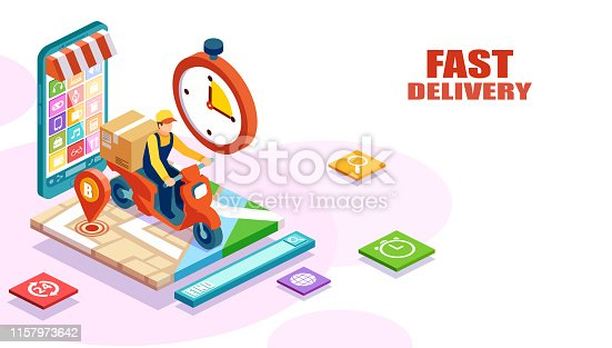 Isometric vector of fast and free delivery by man riding a scooter of an order made online. E-commerce concept