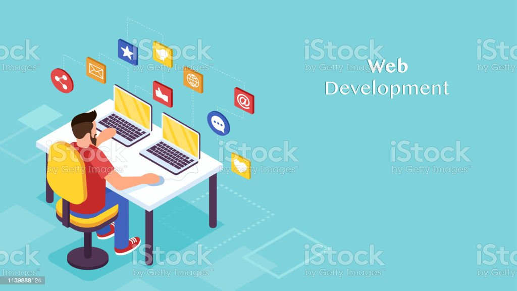 Concept of software engineer and web developer. Isometric vector of...