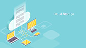 Cloud storage concept. Isometric vector of multiple modern interconnected gadgets