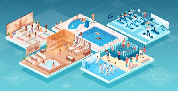 stockillustraties, clipart, cartoons en iconen met isometrische vector van mensen die sporten beoefenen en ontspannen in het fitness-en wellnesscentrum in verschillende trainings gebieden - sauna