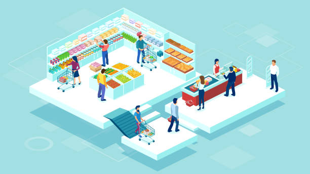 Isometric vector of people shopping together at the grocery supermarket and buying food products Isometric vector of people shopping together at the grocery supermarket and buying food products grocery aisle stock illustrations