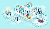 Isometric vector of virtual office with businesspeople, corporate employees working together on a new startup using mobile devices. Business management, education, online communication network