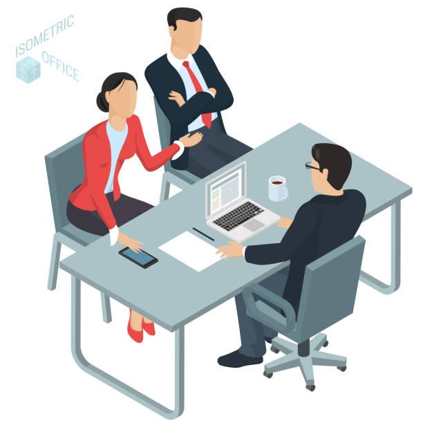 illustrazioni stock, clip art, cartoni animati e icone di tendenza di isometric  vector  office. - divorzio