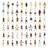 Isometric vector people set. Summer dressed people with flip flops. Icon set. Vector. eps10.