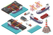 istock Isometric vector port ship loading logistic concept 923278706