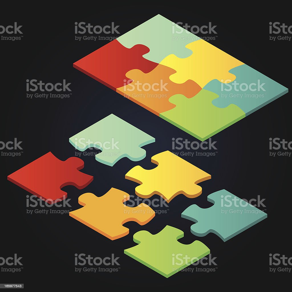 Isometric vector puzzle royalty-free stock vector art