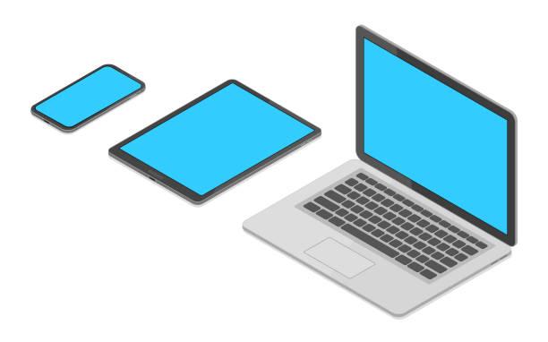 ノートパソコン、タブレット pc、スマートフォンのアイソメベクトルセット - アイソメトリック点のイラスト素材/クリップアート素材/マンガ素材/アイコン素材