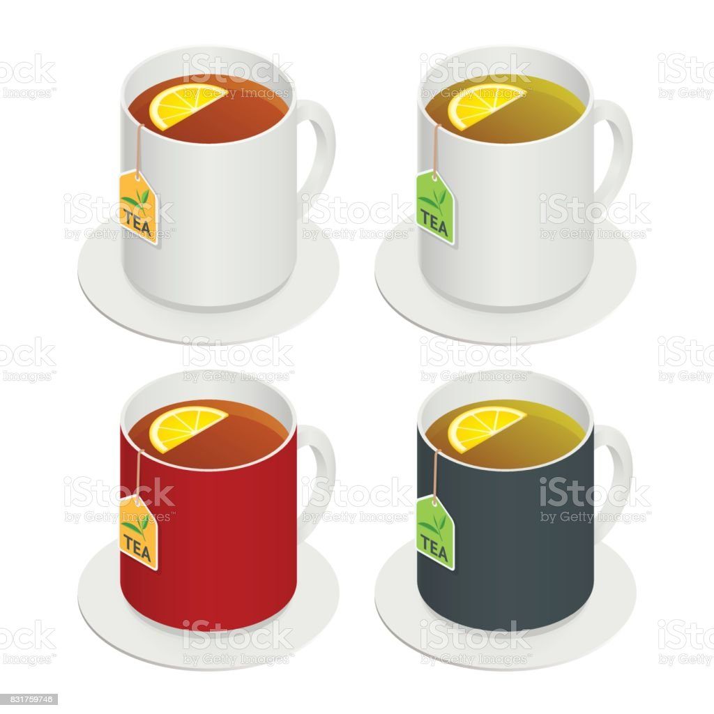 Isometric vector set of multicolored ceramic cups with tea and a piece lemon on white background. Drink Modern vector illustration for web and mobile. Flat Icon. vector art illustration