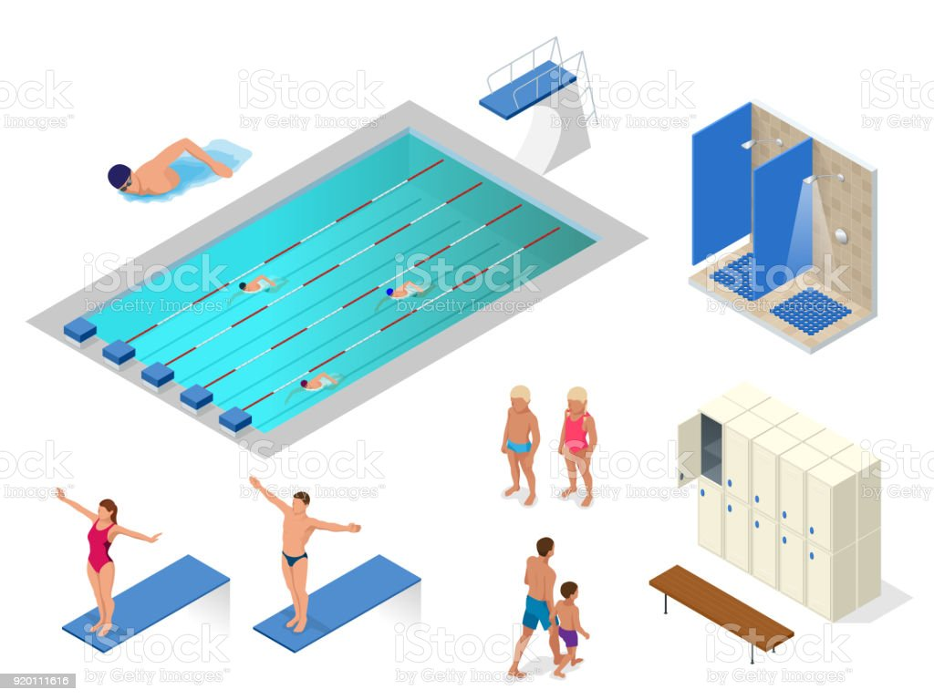 Isometric Vector Set Of Swimming Pool Swimmers Showers In ...