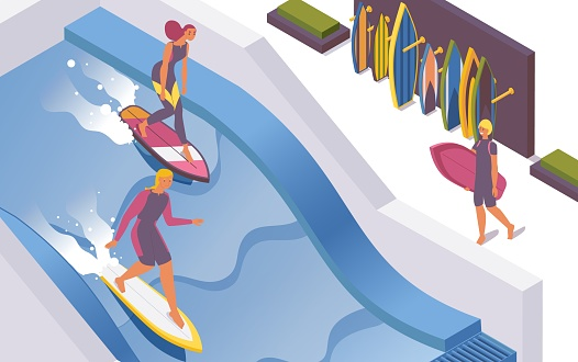 Isometric vector surf wave pools at the hotel, water park. 3d surfer school, people train to stand on the board.