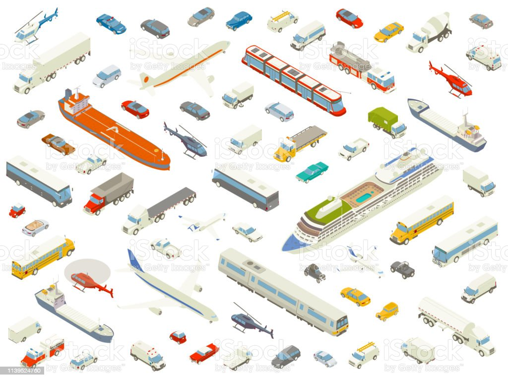 Isometric vehicle icons bold color Dozens of different vehicles are arranged playfully and shown in isometric view. Cars, trucks, buses, boats, trains, airplanes, and helicopters are included in these detailed icons, in bold color. Air Vehicle stock vector