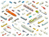 Dozens of different vehicles are arranged playfully and shown in isometric view. Cars, trucks, buses, boats, trains, airplanes, and helicopters are included in these detailed icons, in bold color.