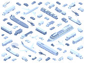 Dozens of different vehicles are arranged playfully and shown in isometric view. Cars, trucks, buses, boats, trains, airplanes, and helicopters are included in these detailed icons, in monochrome.