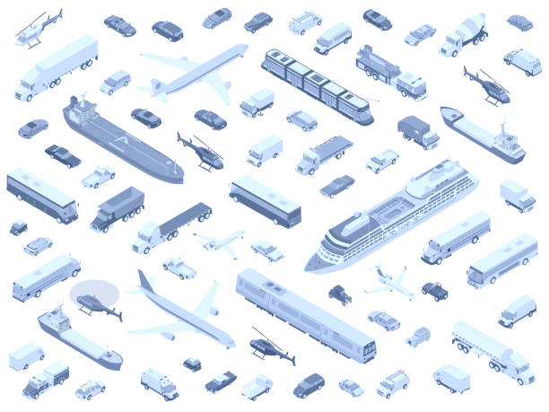 Isometric vehicle icons monochrome vector art illustration