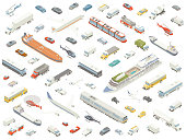 Dozens of different vehicles are arranged playfully and shown in isometric view. Cars, trucks, buses, boats, trains, airplanes, and helicopters are included in these detailed icons, in subtle color.