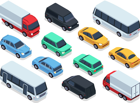 Isometric vehicles and cars for 3d city traffic map. Vector urban transport set