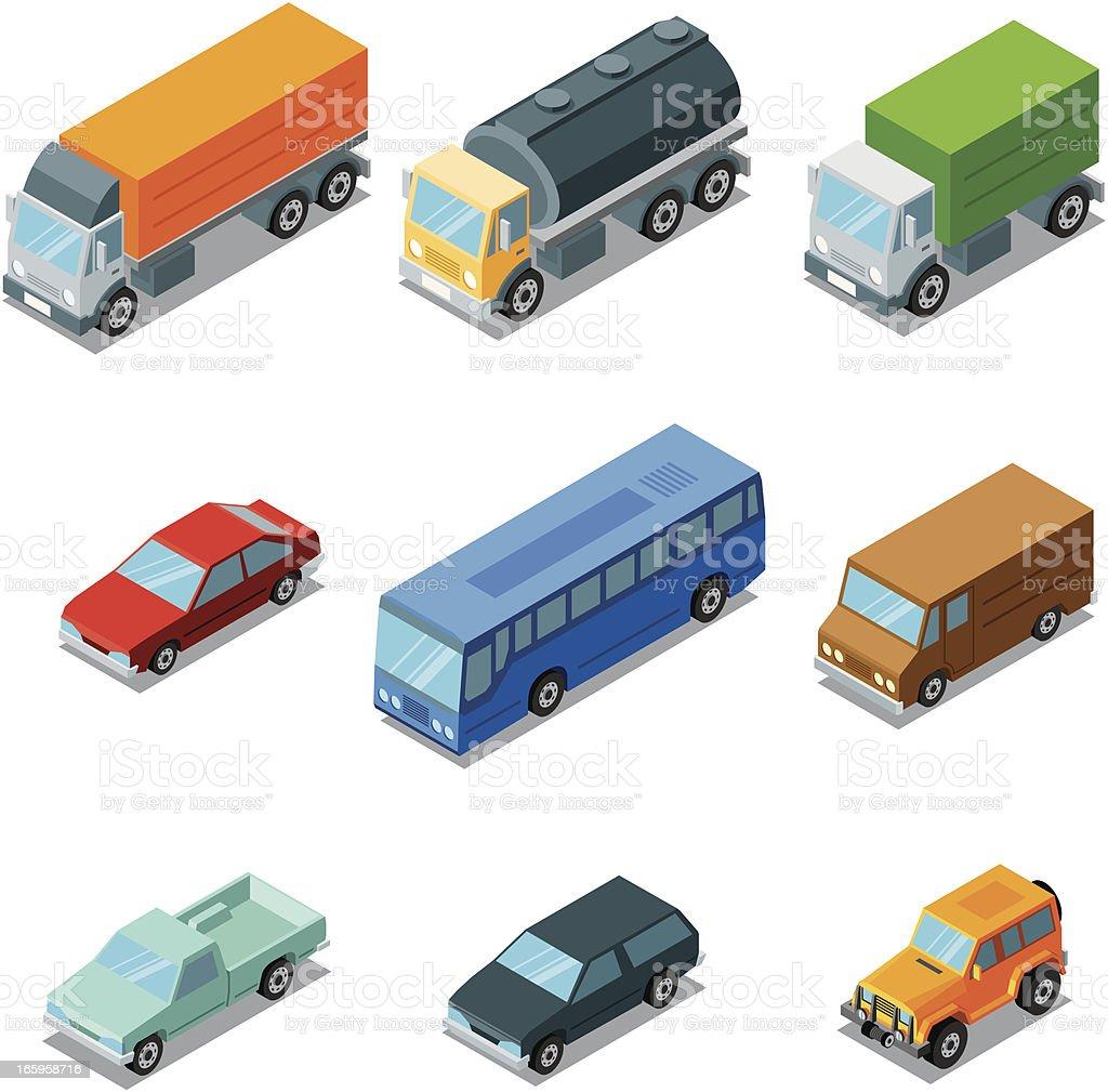 Isometric, vehicles vector art illustration