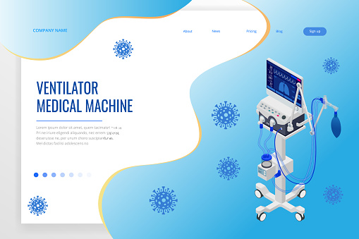 Isometric Ventilator Medical Machine designed to provide mechanical ventilation by moving breathable air into and out of the lungs and for anesthesia of the patient