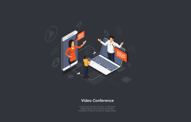 illustrations, cliparts, dessins animés et icônes de bannière de vidéoconférence isométrique. 2 hommes et une femme au téléphone et au carnet tiennent une vidéoconférence. les gens écoutent le conférencier. illustration vectorielle très détaillée. - visioconférence