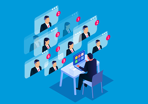 Isometric video conference, online business meeting and online communication