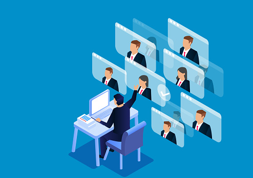 Isometric video conference, online conference work, online communication