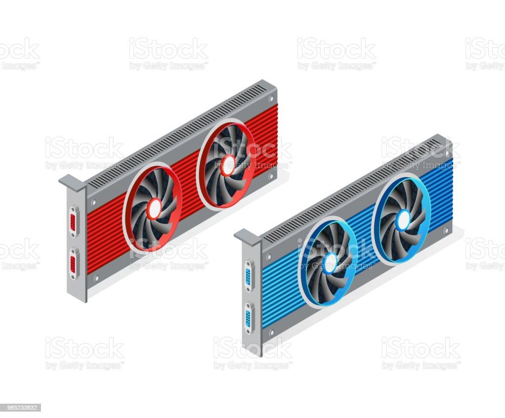 isometric video graphic card isometric video graphic card - stockowe grafiki wektorowe i więcej obrazów banner internetowy royalty-free