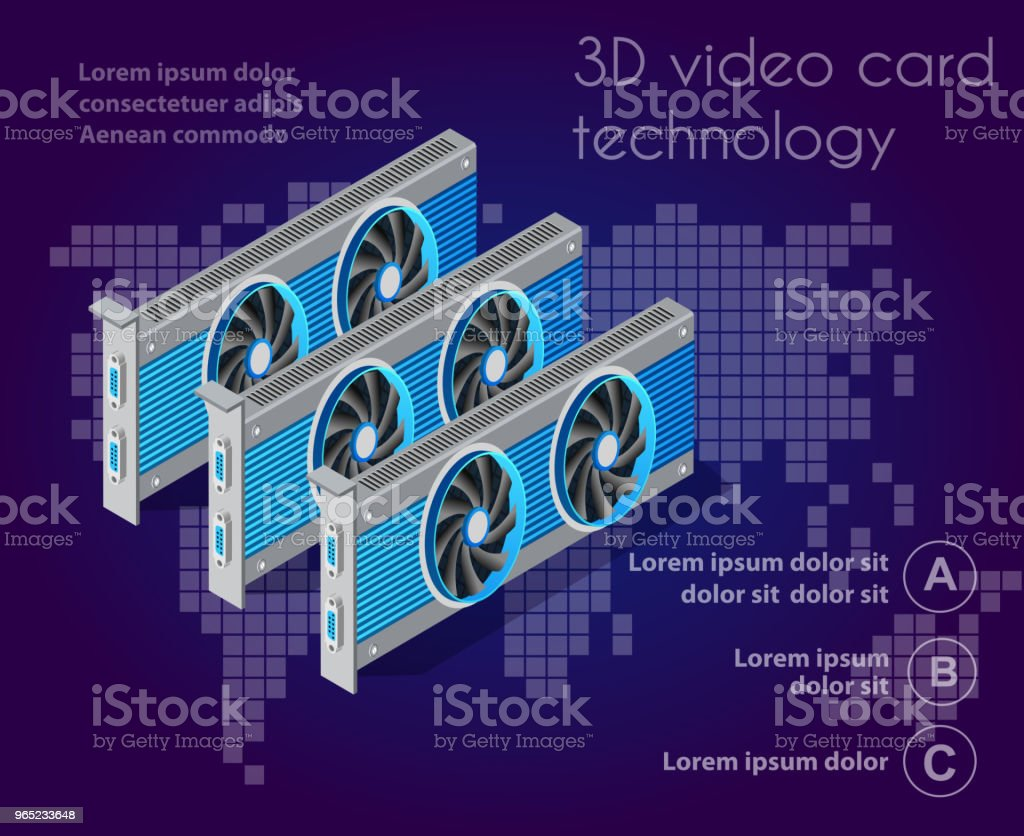 isometric video graphic card royalty-free isometric video graphic card stock vector art & more images of backgrounds