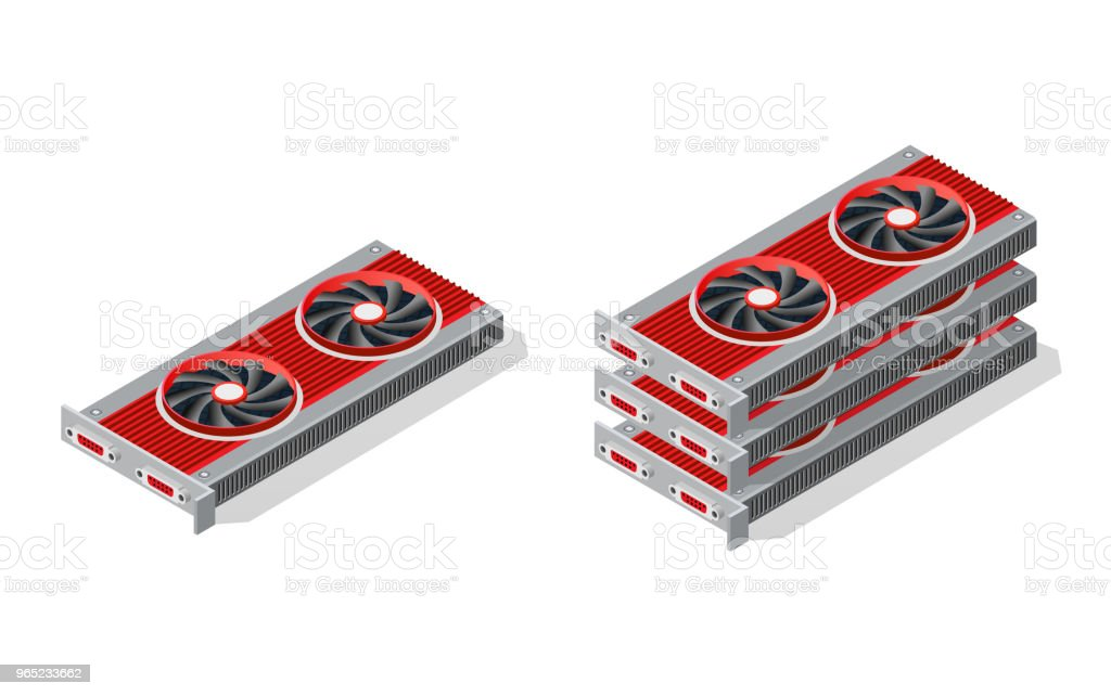 isometric video graphic card isometric video graphic card - stockowe grafiki wektorowe i więcej obrazów banner internetowy royalty-free