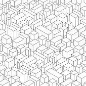 isometric city in monochrome , seamless pattern