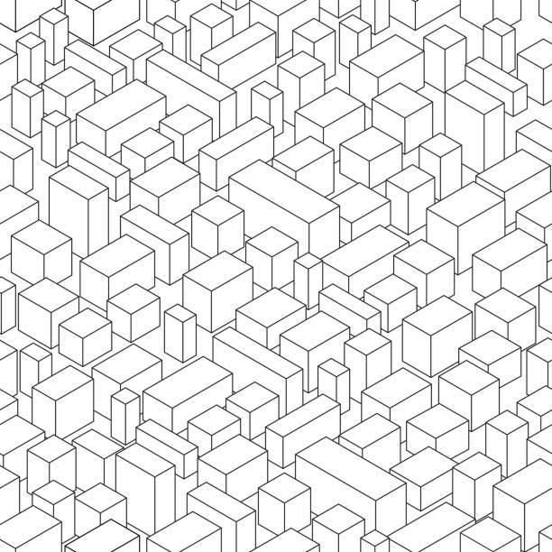 抽象的な市の等角図 - 都市 モノクロ点のイラスト素材/クリップアート素材/マンガ素材/アイコン素材