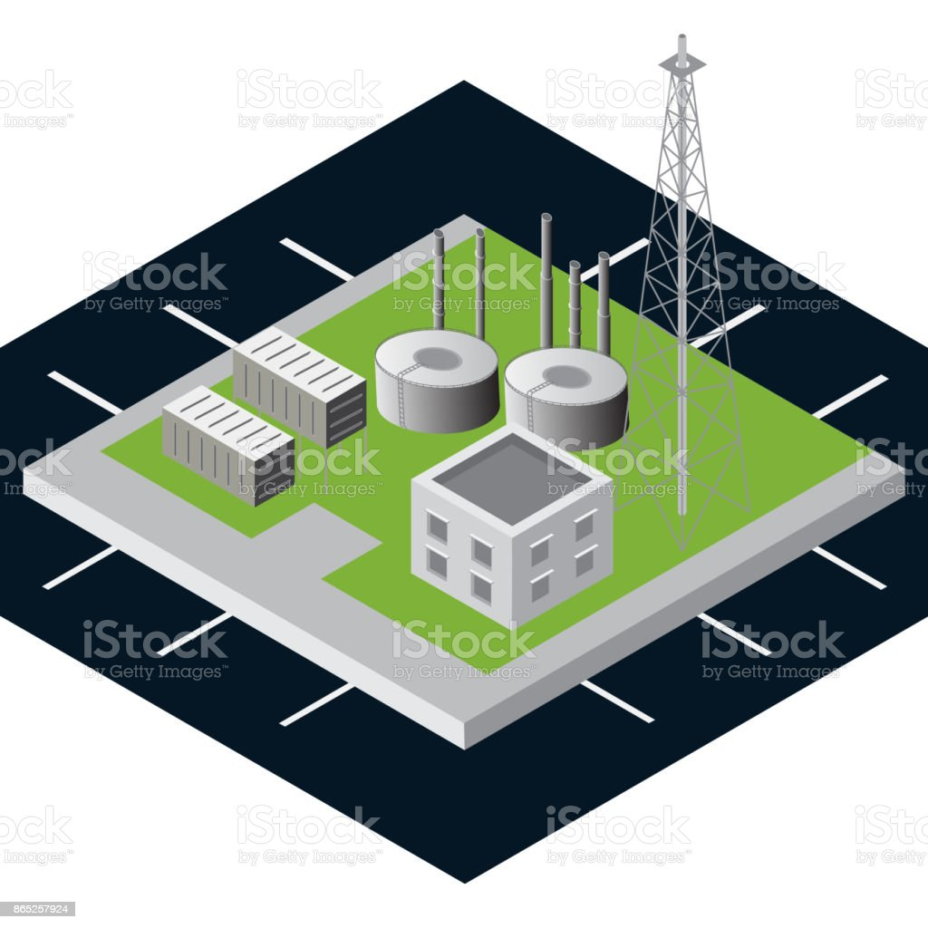 Isometric View Of Chemical Tank Plant Oil Fuel Factory As Industrial Power Diagram With Green Nature Concept
