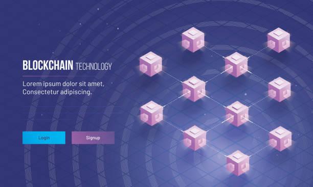 stockillustraties, clipart, cartoons en iconen met isometrische weergave van gedistribueerde grootboek of blokken met elkaar verbonden voor blockchain technologie concept gebaseerd landing paginaontwerp. - blockchain