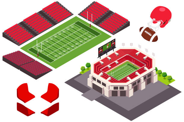 Isometric View of Football Stadium Illustration vector art illustration