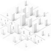 Isometric view of skyscraper office buildings illustration. Commercial real estate for your business. Graphic concept for your design.