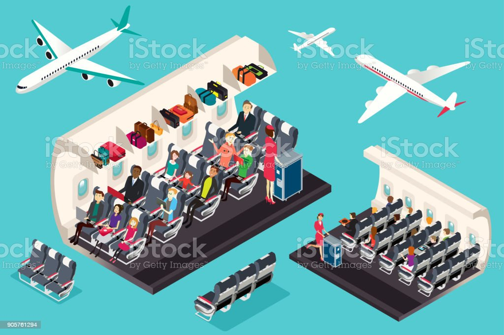 Isometric View of the Interior of an Airplane Illustration vector art illustration