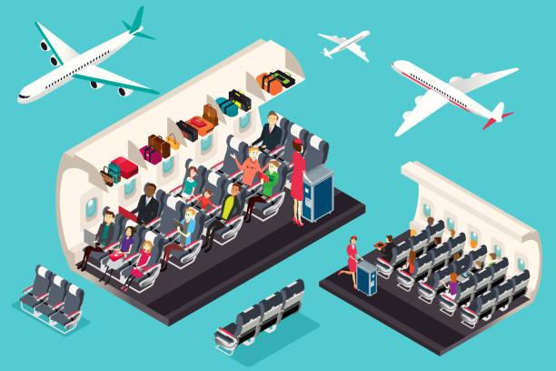 illustrations, cliparts, dessins animés et icônes de vue isométrique de l'intérieur d'une illustration de l'avion - passager