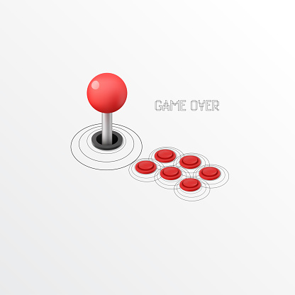 Isometric Vintage Arcade Machine with  Joystick and Buttons