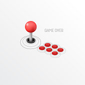 istock Isometric Vintage Arcade Machine with  Joystick and Buttons 1200343174