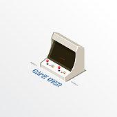 Detailed Set of Isometric Video Game Machine Equipments