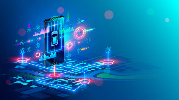 Isometric virtual abstract interface of Intelligent car system and gps navigator on hanging screen of smartphone above digital map city. Car sharing service concept. Mobile application of automobile. vector art illustration