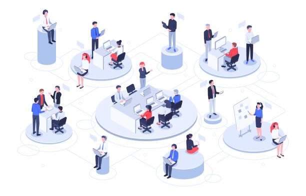 アイソメ仮想オフィス。ビジネスの人々が一緒に働いて、技術会社のワークスペースとチームワークプラットフォームベクターイラスト - アイソメトリック点のイラスト素材/クリップアート素材/マンガ素材/アイコン素材