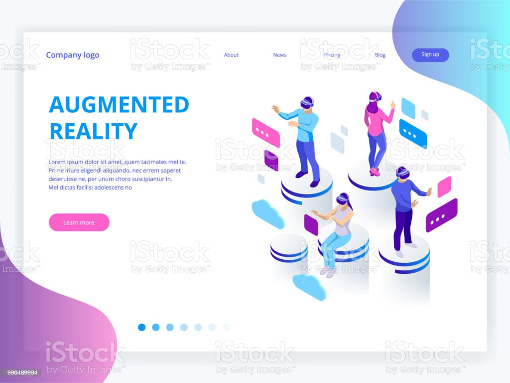 Isometric virtual reality, augmented reality concept. Men and woman wearing virtual reality glasses. Work, learning and entertaining. Vector illustration.
