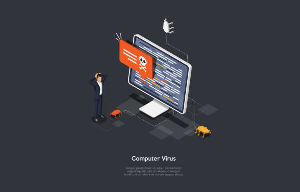 Isometric Virus protection concept. Internet security. Cyber attack on the computer. Computer protection by antivirus software. Protective laptop and shield. Vector illustration. Isometric Virus protection concept. Internet security. Cyber attack on the computer. Computer protection by antivirus software. Protective laptop and shield. Vector illustration. computer virus stock illustrations