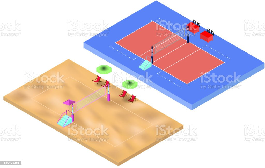 Isometric volleyball and beach volleyball playgrounds with net and judges place vector art illustration