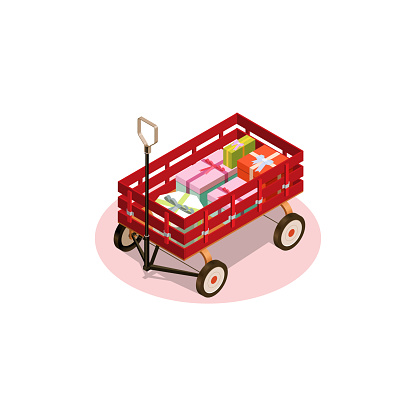 Isometric wagon with lots of gifts.